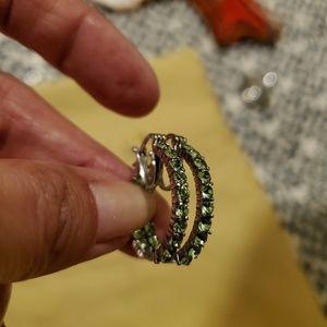 Green Swarovski Peridot Hoop Earrings